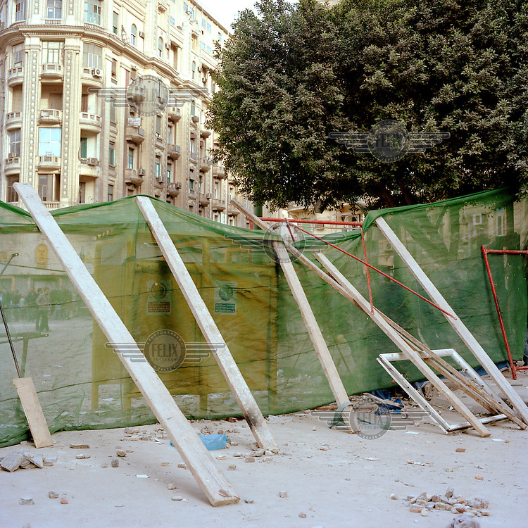 A barricade built by anti government protesters stands on a back-street leading off Tahrir Square. 25 January 2011 saw the beginning of a nationwide 18 day protest movement that eventually ended the 30-year rule of Hosni Mubarak and his National Democratic Party. .