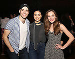 "Corey Cott, Camila Mendes and Laura Osnes backstage at Broadway's ""Bandstand"" at the Bernard Jacobs Theate on May 19, 2017 in New York City."