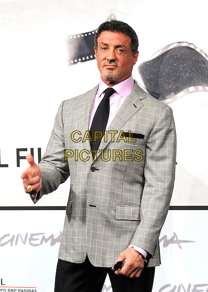 Sylvester Stallone.The 'Bullet To The Head' Photocall during the 7th Rome Film Festival at the Auditorium Parco Della Musica, Rome, Italy..November 14th, 2012.half length grey gray suit jacket black tie pink shirt goatee stubble facial hair .CAP/IPP/GB.©Gioia Botteghi/IPP/Capital Pictures.