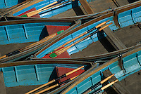 Detail of the bright blue rowing boats available for hire at Magdalen Bridge, Oxford.