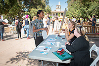 Student Lauren Duffy and staffer Laura Carney, CFA Society Los Angeles<br /> 2018 InternLA student participants share their poster presentations about their summer experiences working as interns in Los Angeles. Summer Experience Expo, Sept. 13, 2018 in the Academic Quad. Hosted by Career Services.<br /> (Photo by Marc Campos, Occidental College Photographer)