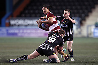 Picture by Paul Greenwood/SWpix.com - 27/04/2018 - Rugby League - Betfred Super League - Widnes Vikings v Wigan Warriors - Select Security Stadium, Widnes, England - Taulima Tautai of Wigan Warriors is tackled by Greg Burke and Alex Gerrard of Widnes Vikings
