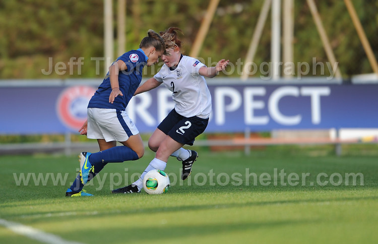 Martha Harris of England battles with Marine Dafeur of France during the UEFA Womens U19 Championships at Stebonheath Park, Llanelli  Monday 19th August 2013. All images are the copyright of Jeff Thomas Photography-www.jaypics.photoshelter.com-07837 386244-Any use of images must be authorised by the copyright owner.