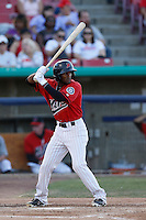 Jamal Austin #3 of the High Desert Mavericks bats against the Stockton Ports at Stater Bros. Stadium on April 27, 2013 in Adelanto, California. Stockton defeated High Desert, 17-7. (Larry Goren/Four Seam Images)