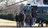 Washington, DC - February 7, 2009 -- United States President Barack Obama, first lady Michelle Obama and first children Sasha and Malia Obama and a friend walk out of the White House to Marine One to travel to Camp David for the first time.  Michelle Obama's mother, Mary Robinson is also in the photograph..Credit: Dennis Brack / Pool via CNP