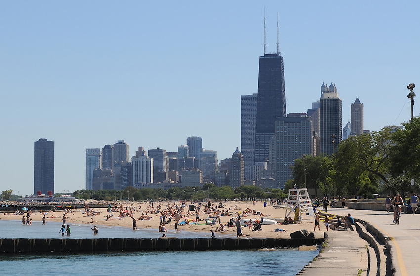 Chicago's Lakefront, across from Lincoln Park, where trails, sandy beaches and the lapping waters of Lake Michigan make for a great summer day.