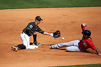Pittsburgh Pirates shortstop Cole Figueroa (24) fields a throw as Blake Swihart (23) slides safely into second base during a Spring Training game against the Boston Red Sox on March 9, 2016 at McKechnie Field in Bradenton, Florida.  Boston defeated Pittsburgh 6-2.  (Mike Janes/Four Seam Images)