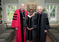 Jonathan Veitch, President; Olamide U. Ajose '87, Senior Policy Adviser for Higher Education for Governor Gavin Newsom; Dennis Collins p'94, Trustee Emeritus.<br /> Families, friends, faculty, staff and distinguished guests celebrate the class of 2019 during Occidental College's 137th Commencement ceremony on Sunday, May 19, 2019 in the Remsen Bird Hillside Theater.<br /> (Photo by Marc Campos, Occidental College Photographer)