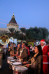 Israel, Galilee, Christmas celebrations in Nazareth, the procession, the Church of the Annunciation is in the background
