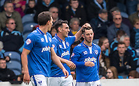 Gary Roberts of Portsmouth congratulates Conor Chaplin of Portsmouth on his goal making it 2-1 during the Sky Bet League 2 match between Portsmouth and Wycombe Wanderers at Fratton Park, Portsmouth, England on 23 April 2016. Photo by Andy Rowland.