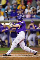 LSU Tigers outfielder Raph Rhymes #4 swings the bat against the Auburn Tigers in the NCAA baseball game on March 23, 2013 at Alex Box Stadium in Baton Rouge, Louisiana. LSU defeated Auburn 5-1. (Andrew Woolley/Four Seam Images).