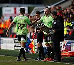 Conor Sammon of Sheffield Utd comes on for Dominic Calvert-Lewin of Sheffield Utd - English League One - Fleetwood Town vs Sheffield Utd - Highbury Stadium - Fleetwood - England - 5rd March 2016 - Picture Simon Bellis/Sportimage