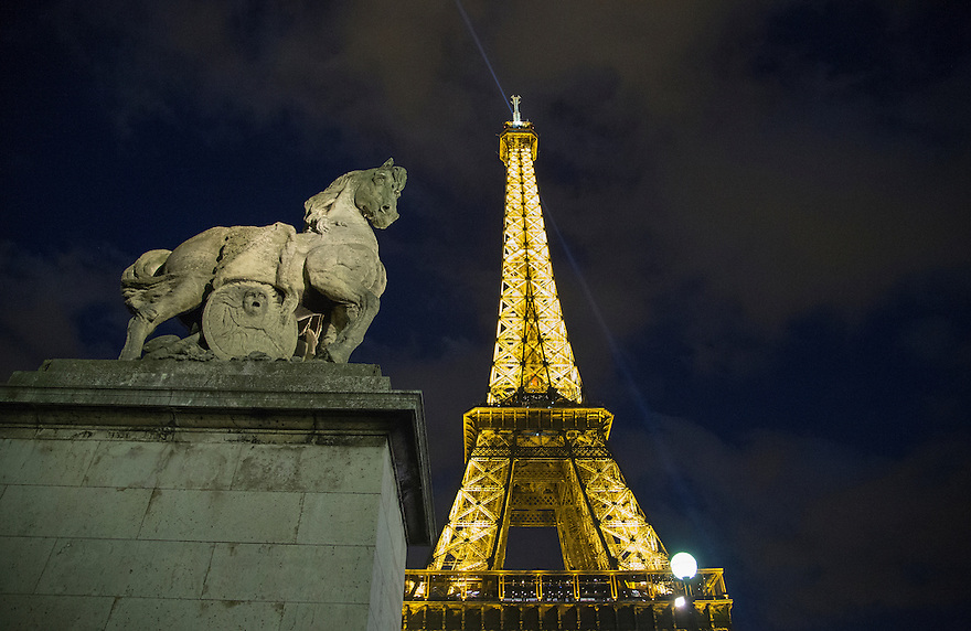 Series of pictures of the Eiffel Tower in Paris, France.
