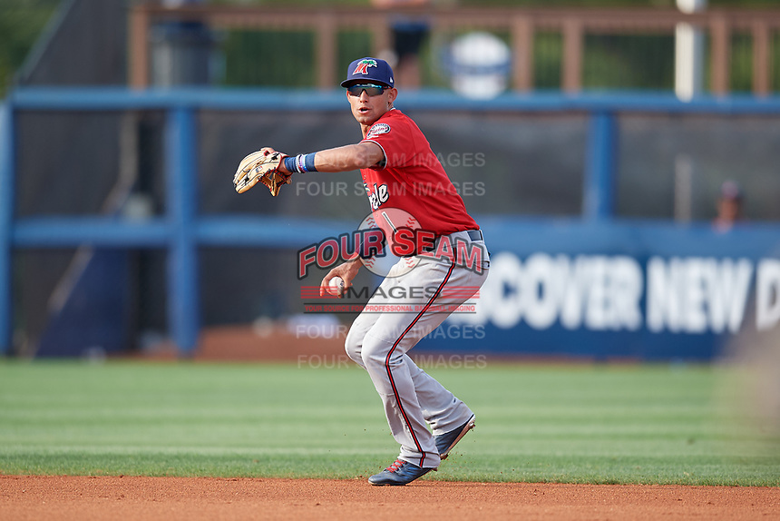 Fort Myers Miracle shortstop Royce Lewis (1) throws to first during a Florida State League game against the Charlotte Stone Crabs on April 6, 2019 at Charlotte Sports Park in Port Charlotte, Florida.  Fort Myers defeated Charlotte 7-4.  (Mike Janes/Four Seam Images)