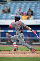 Lehigh Valley IronPigs pinch hitter Danny Ortiz (6) follows through on a swing during a game against the Syracuse Chiefs on May 20, 2018 at NBT Bank Stadium in Syracuse, New York.  Lehigh Valley defeated Syracuse 5-2.  (Mike Janes/Four Seam Images)