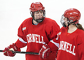 Victoria Pittens (Cornell - 14), Jessica Campbell (Cornell - 8) - The Boston College Eagles defeated the visiting Cornell University Big Red 4-3 (OT) on Sunday, January 11, 2012, at Kelley Rink in Conte Forum in Chestnut Hill, Massachusetts.