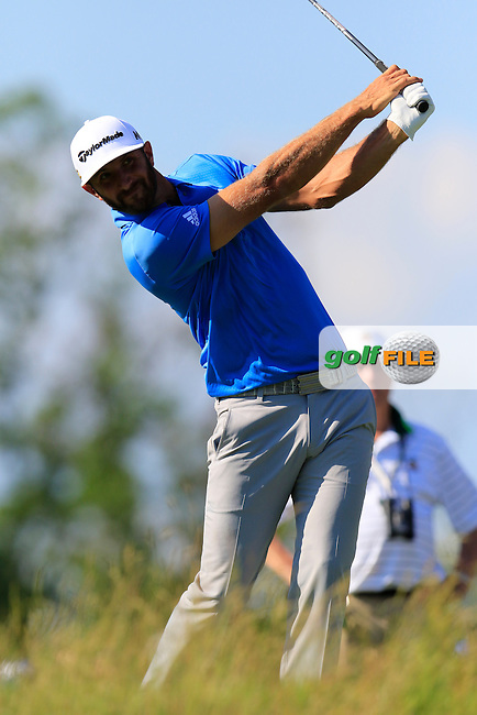Dustin Johnson (USA) tees off the 18th tee during Friday's Round 2 of the 2016 U.S. Open Championship held at Oakmont Country Club, Oakmont, Pittsburgh, Pennsylvania, United States of America. 17th June 2016.<br /> Picture: Eoin Clarke | Golffile<br /> <br /> <br /> All photos usage must carry mandatory copyright credit (&copy; Golffile | Eoin Clarke)