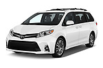 2018 Toyota Sienna XLE 5 Door Mini Van angular front stock photos of front three quarter view