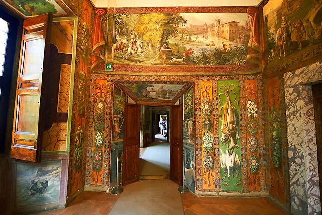 Corridor with Renaissance painting of hunting scenes in the Villa d'Este, Tivoli, Italy. A UNESCO World Heritage Site.