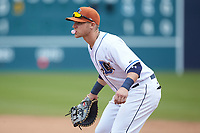 Durham Bulls first baseman Jake Bauers (11) on defense against the Buffalo Bison at Durham Bulls Athletic Park on April 25, 2018 in Allentown, Pennsylvania.  The Bison defeated the Bulls 5-2.  (Brian Westerholt/Four Seam Images)