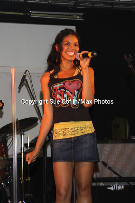 "Karla Mosley sings at the 9th Annual Rock Show for Charity to benefit the American Red Cross of Greater New York on October 9, 2010 at the American Red Cross Headquarters, New York City, New York. Also singing were Kristen Alderson (We Belong) followed by Kelley Missal, Kristen Alderson and Brittany Underwood (I Love Rock N'Roll), Brittany Underwood ""Life Is A Highway"", Kim Zimmer ""If You Don't Know Me By Now"" and ""Simply The Best"", David Gregory ""I'm Gonna Be"", Jason Tam ""Power of Love"" and ""Jessie's Girl"", Sandra Santiago ""Landslide"" and ""Gloria"". For Guiding Light - Bradley Cole ""I Ran"", ""White Wedding"" and ending with ""Pride and Joy"", Karla Mosley ""I Wanna Dance"" and ""Ben"". Items were auctioned off and many dollars were raised. (Photos by Sue Coflin/Max Photos)"