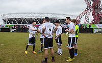 DAPPY gives teammates a talk before there first match during the SOCCER SIX Celebrity Football Event at the Queen Elizabeth Olympic Park, London, England on 26 March 2016. Photo by Andy Rowland.