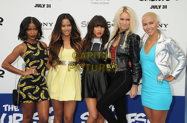G.R.L<br /> &quot;Smurfs 2&quot; Los Angeles Premiere held at the Regency Village Theatre, Westwood, California, USA. <br /> July 28th, 2013 <br /> half length GRL band group banana yellow black dress turquoise silver jacket black<br /> CAP/ADM/BP<br /> &copy;Byron Purvis/AdMedia/Capital Pictures