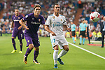 Real Madrid's Lucas Vazquez and Fiorentina's Federico Chiesa during XXXVIII Santiago Bernabeu Trophy at Santiago Bernabeu Stadium in Madrid, Spain August 23, 2017. (ALTERPHOTOS/Borja B.Hojas)