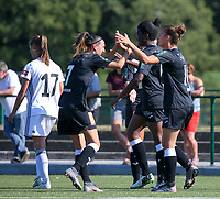 20190921 – LEUVEN, BELGIUM : E. Aalst's Anke Vanhooren (left) is pictured celebrating Evy de Smedt's  (right) goal during a women soccer game between  Oud Heverlee Leuven Ladies B and Eendracht Aalst Ladies on the fourth matchday of the Belgian Division 1 season 2019-2020, the Belgian women's football  national division 1, Saturday 21th September 2019 at the Bruinveld Youth Complex, Domeinstraat in Leuven , Belgium. PHOTO SPORTPIX.BE | SEVIL OKTEM