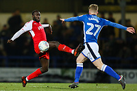 Toumani Diagouraga of Fleetwood Town and Andrew Cannon of Rochdale during the Sky Bet League 1 match between Rochdale and Fleetwood Town at Spotland Stadium, Rochdale, England on 20 March 2018. Photo by Thomas Gadd.