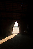 Xingu Indigenous Park, Mato Grosso, Brazil. Aldeia Matipu. A young boy stands at the door of a traditional oca house while warriors dance in a line outside.