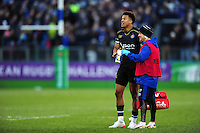 Anthony Watson of Bath Rugby with physiotherapist Cerian Parham. European Rugby Challenge Cup match, between Bath Rugby and Pau (Section Paloise) on January 21, 2017 at the Recreation Ground in Bath, England. Photo by: Patrick Khachfe / Onside Images