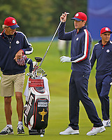 23 Sept 14  Caddie Steve Hale with Keegan Bradley during the Tuesday Practice Round at The Ryder Cup at The Gleneagles Hotel in Perthshire, Scotland. (photo credit : kenneth e. dennis/kendennisphoto.com)