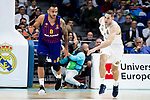 Fabien Causeur of Real Madrid and Adam Hanga of FC Barcelona Lassa during Turkish Airlines Euroleague match between Real Madrid and FC Barcelona Lassa at Wizink Center in Madrid, Spain. December 13, 2018. (ALTERPHOTOS/Borja B.Hojas)