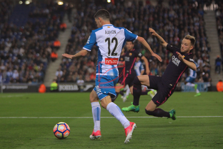 League Santander 2016/2017. Game: 35.<br /> RCD Espanyol vs FC Barcelona: 0-3.<br /> Aaron vs Ivan Rakitic.