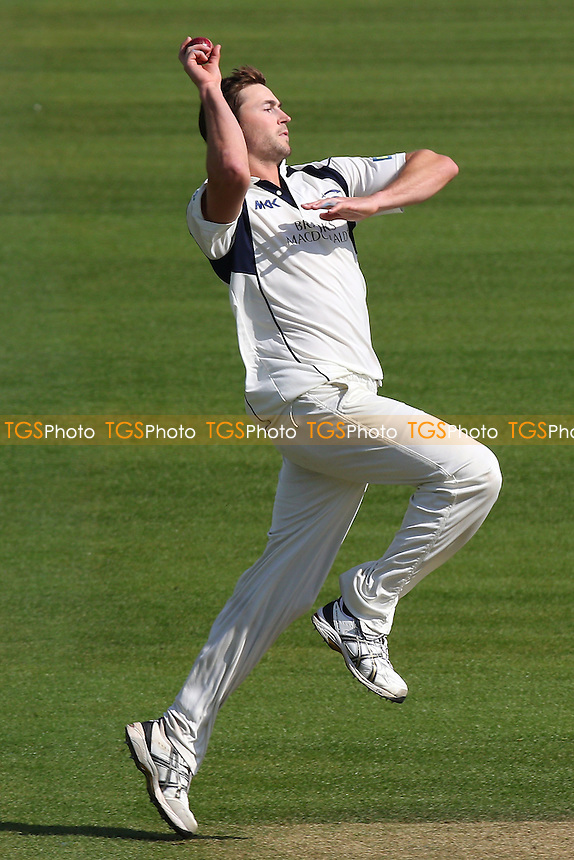 James Fuller in bowling action for Middlesex during Surrey CCC vs Middlesex CCC, Friendly Match Cricket at the Kia Oval on 22nd March 2016