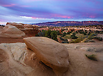 Grand Staircase-Escalante National Monument, UT: Sunrise on rock formations at Devil's Garden Outstanding Natural Area