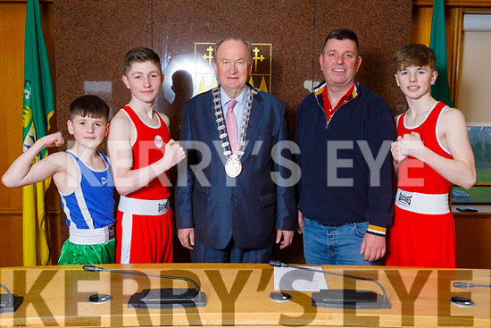 The Mayor of Tralee Cllr Jim Finucane wishing the Murray brothers at the Council Chambers on Monday, best wishes on their boxing championship bouts in the upcoming Munster Boxing Championships. <br /> L to r: John Murray, Cllr Jim Finucane (Mayor of Tralee), Tony Snr, Tony and Mike Murray