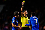 Benat Etxebarria Urkiaga of Athletic de Bilbao (R) reacts as referee Jose Maria Sanchez Martinez (C) shows him the yellow card during the La Liga 2018-19 match between Atletico de Madrid and Athletic de Bilbao at Wanda Metropolitano, on November 10 2018 in Madrid, Spain. Photo by Diego Gouto / Power Sport Images