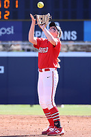 GREENSBORO, NC - FEBRUARY 22: Lacey Olaff #14 of Fairfield University catches a pop-up during a game between Fairfield and North Carolina at UNCG Softball Stadium on February 22, 2020 in Greensboro, North Carolina.