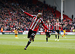 Leon Clarke of Sheffield Utd celebrates his second goal during the English League One match at Bramall Lane Stadium, Sheffield. Picture date: April 17th 2017. Pic credit should read: Simon Bellis/Sportimage