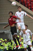 Men's Olympic Football match Egypt v Belarus on 1.8.12...Marwan Mohsen of Egypt and Igor Kuzmenok of Belarus, during the Men's Olympic Football match between Egypt v Belarus at Hampden Park, Glasgow.