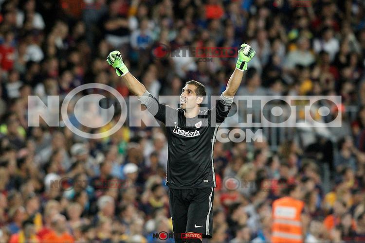 Athletic de Bilbao's Gorka Iraizoz celebrates goal during Supercup of Spain 2nd match.August 17,2015. (ALTERPHOTOS/Acero)