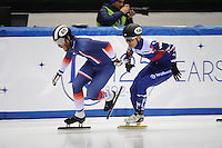 SHORT TRACK: TORINO: 14-01-2017, Palavela, ISU European Short Track Speed Skating Championships, Quarterfinals 500m Men, Thibaut Fauconnet (FRA), Victor An (RUS), ©photo Martin de Jong