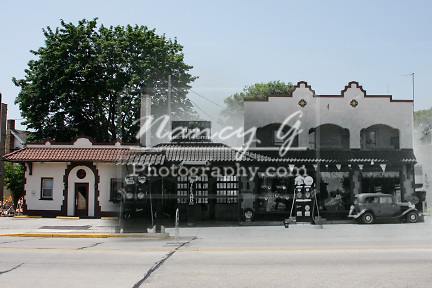 Composite image of a 1930s historical gas station over a present day commerical shops Griddlers Cafe in Menomonee Falls WI
