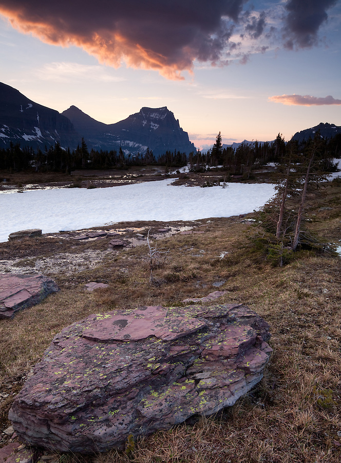 The sun rises over Logan Pass in Glacier National Park, Montana.