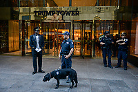 USA, New York City, Trump Tower with police and porter at 5th Avenue