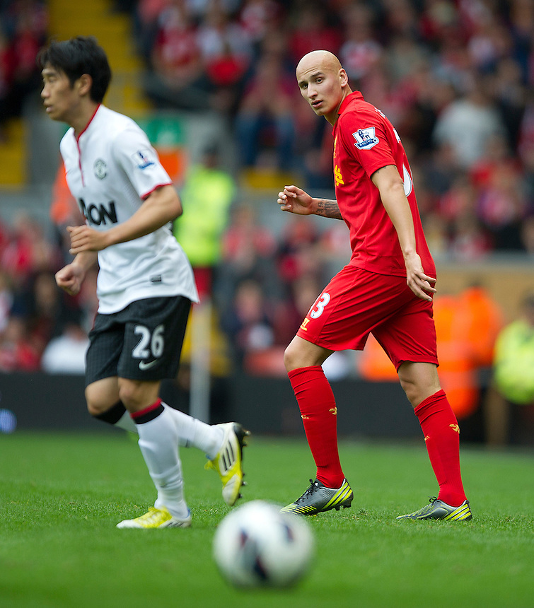 Liverpool's Jonjo Shelvey ..Football - Barclays Premiership - Liverpool v Manchester United - Sunday 23rd September 2012 - Anfield - Liverpool..