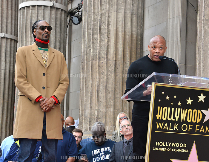 LOS ANGELES, CA. November 19, 2018: Snoop Dogg &amp; Dr Dre at the Hollywood Walk of Fame Star Ceremony honoring Snoop Dogg.<br /> Pictures: Paul Smith/Featureflash