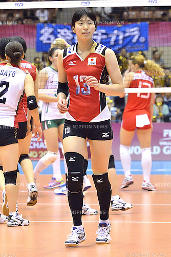 Risa Shinnabe (JPN),<br /> AUGUST 16, 2013 - Volleyball :<br /> 2013 FIVB World Grand Prix, Preliminary Round Week 3 Pool M match Japan 0-3 Bulgaria at Sendai Gymnasium in Sendai, Miyagi, Japan. (Photo by Ryu Makino/AFLO)